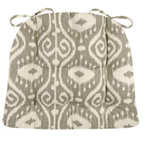 Bali Ikat Stone Dining Chair Cushions - Barnett Home Decor - Gray & Ivory
