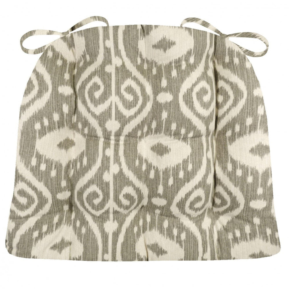 Bali Ikat Stone Dining Chair Pad - Latex Foam Fill - Grey