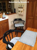 Madrid Lake Blue Gingham Dining Chair Pads - Latex Foam Fill, Reversible