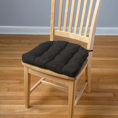 Micro-Suede Black Dining Chair Pads - Latex Foam Fill, Reversible