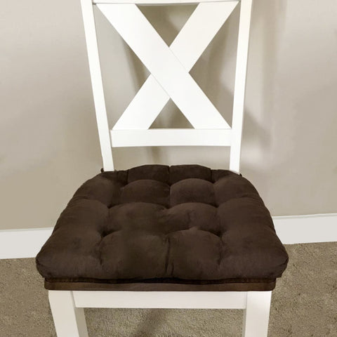 Micro-Suede Coffee Bean Brown Dining Chair Pad with Ties - Latex Foam Fill - Microfiber