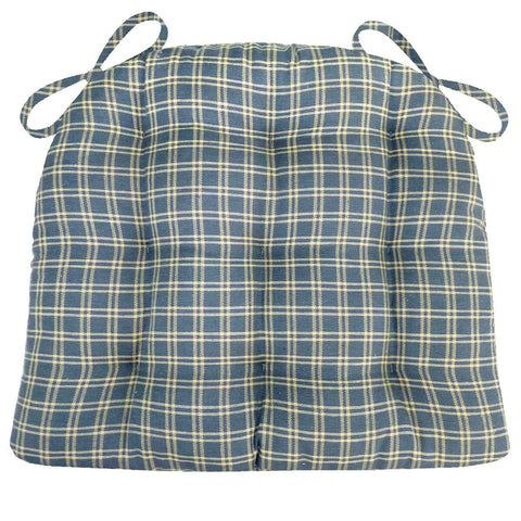 Britt Blue Plaid Dining Chair Pad - Latex Foam Fill - Reversible