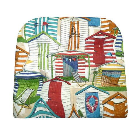 Beach Huts Multi Dining Chair Cushion (no ties) | Barnett Home Decor