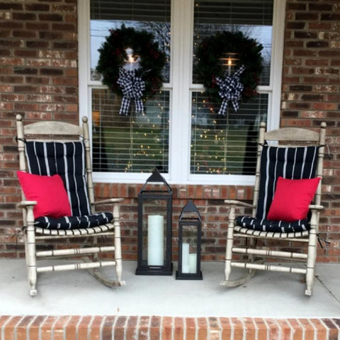 Pursuit Black & White Stripe Porch Rocker Cushions - Latex Foam Fill - Fade Resistant