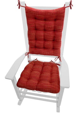 Brisbane Red Tweed Rocking Chair Cushions - Latex Foam Fill, Reversible