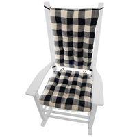 buffalo check black and white rocking chair cushions - barnett home decor - buffalo plaid