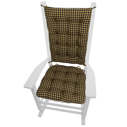 Checkers Black and Tan Checkered Rocking Chair Cushions - Barnett Home Decor - Black & Tan