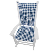 Classic Check Blue Rocking Chair Cushions | Barnett Home Decor | Blue | White