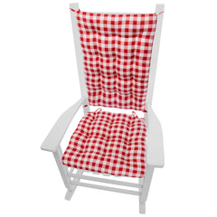 Classic Check Red Rocking Chair Cushions | Barnett Home Decor | Red