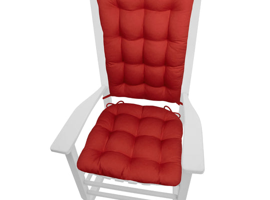 Cotton Duck Flame Red Rocking Chair Cushions  - Barnett Home Decor - Red
