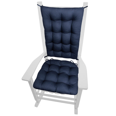 Cotton Duck Navy Blue Rocking Chair Cushions - Latex Foam Fill - Reversible