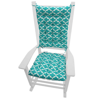 Fulton Aqua Indoor/Outdoor Rocking Chair Cushions - Barnett Home Decor - Aqua