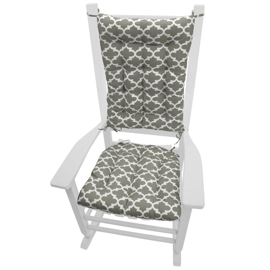 Fulton Ogee Grey Indoor/Outdoor Rocking Chair Cushions - Barnett Home Decor - Grey