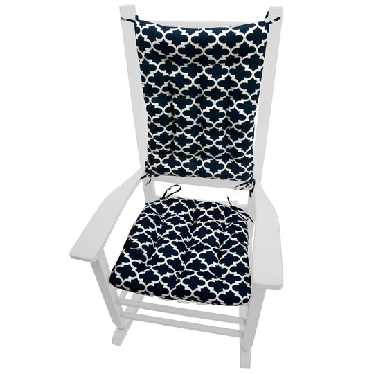 Fulton Ogee Navy Blue Indoor/Outdoor Rocking Chair Cushions - Barnett Home Decor - Blue