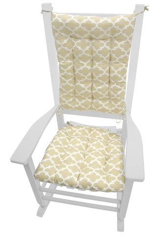 Fulton Ogee Sand Porch Rocker Cushions - Latex Foam Fill - Fade Resistant