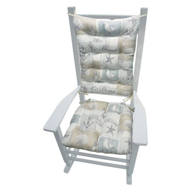 Gulls Point Rocking Chair Cushions - Barnett Home Decor - Beige, Grey, & White