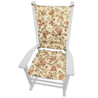 La Belle Floral Brocade Rocking Chair Cushions - Barnett Home Decor - Red, Gold, & Green