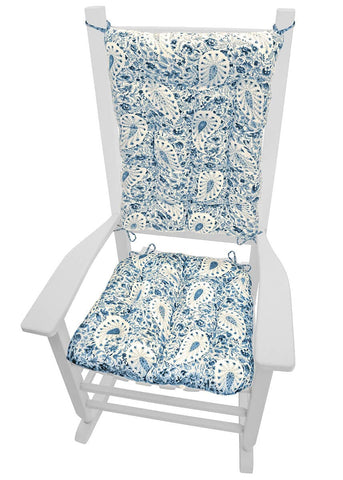 Paisley Verbena Porcelain Blue Rocking Chair Cushions - Latex Foam Fill