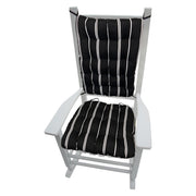 Pursuit indoor outdoor rocking chair cushions - barnett home decor - black and white striped