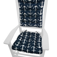 Sailor's Anchor Navy Blue Indoor/Outdoor Rocking Chair Cushions | Barnett Home Decor | Navy Blue