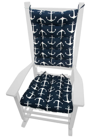 Sailors Anchor Navy Blue Rocking Chair Cushions | Barnett Home Decor