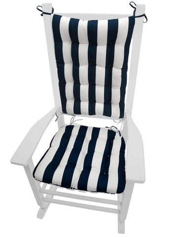 Sea Shore Stripe Navy Blue Porch Rocker Cushions - Latex Foam Fill