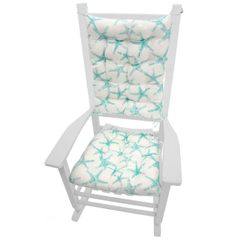 Sea Shore Starfish Aqua Rocking Chair Cushions - Barnett Home Decor - Aqua & White