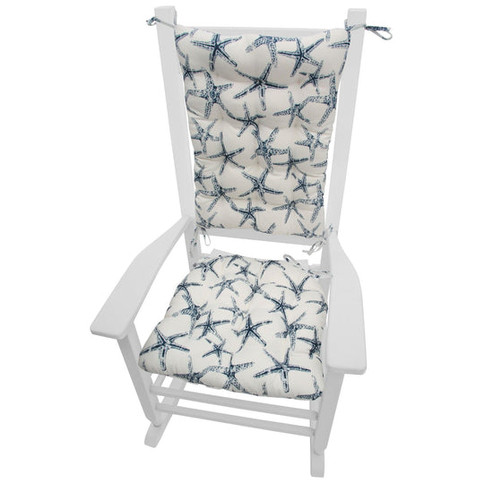 Sea Shore Starfish Navy Blue Rocking Chair Cushions - Barnett Home Decor - Navy Blue & White
