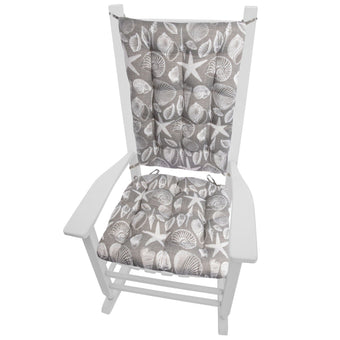 Shoreline Indoor/Outdoor Grey Rocking Chair Cushions - Barnett Home Decor - Grey & White
