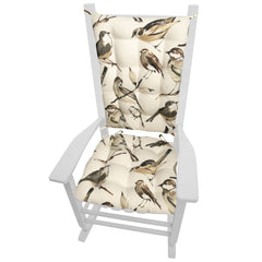 Song Bird Black Rocking Chair Cushions - Barnett Home Decor - Taupe, Black, Grey