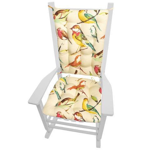 Song Bird Multi Rocking Chair Cushions - Barnett Home Decor - Teal, Yellow, & Red