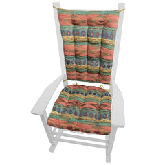 Southwest Phoenix Sunset Rocking Chair Cushions - Barnett Home Decor - Turquoise, Sage, & Salmon
