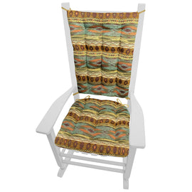 Southwest Tucson Desert Rocking Chair Cushions - Barnett Home Decor - Salmon, Azure, Sand, & Bronze