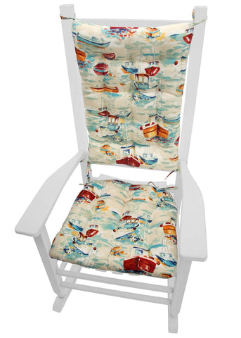 rocking chair cushions - spinnaker sailboats | barnett home decor