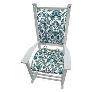 Sylvan Teal Arts & Crafts Porch Rocker Cushions - Fade Resistant