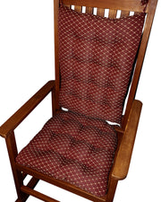 Tiffany Wine Red Brocade Rocking Chair Pads | Barnett Home Decor | Red