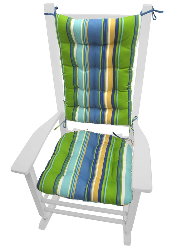 Westport Blue Cabana Stripe Rocking Chair Cushions | Barnett Home Decor