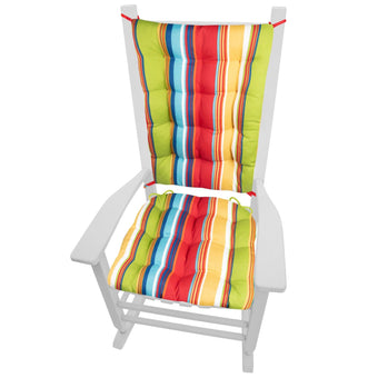 Westport Red Cabana Stripe Rocking Chair Cushions | Barnett Home Decor | Red, Gold, Green, & Aqua