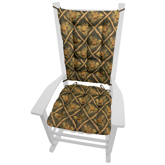 Wilderness Pinecones Green Rocking Chair Cushions - Barnett Home Decor - Green, Beige, & Brown