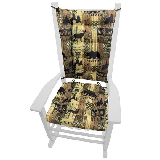 Woodlands Brentwood Rocking Chair Cushions - Barnett Home Decor - Bronze, Beige, & Gold