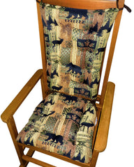 Woodlands Brentwood Rocking Chair Cushions - Barnett Home Decor - Bronze, Beige, & Gold - Animals - Nature - Wildlife - Bears - Moose - Deer - Rustic - Hunting - Fishing - Cabin