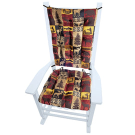 Woodlands Fairbanks Rocking Chair Cushions | Barnett Home Decor | Red, Brown, Yellow, & Beige - Animals - Nature - Wildlife - Bears - Moose - Deer - Rustic - Hunting - Fishing - Cabin