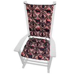 Woodlands Larston Brick Rocking Chair Cushions - Barnett Home Decor - Red & Black