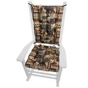 Woodlands Peters Cabin Rocking Chair Cushions - Barnett Home Decor - Taupe, Brown, & Black