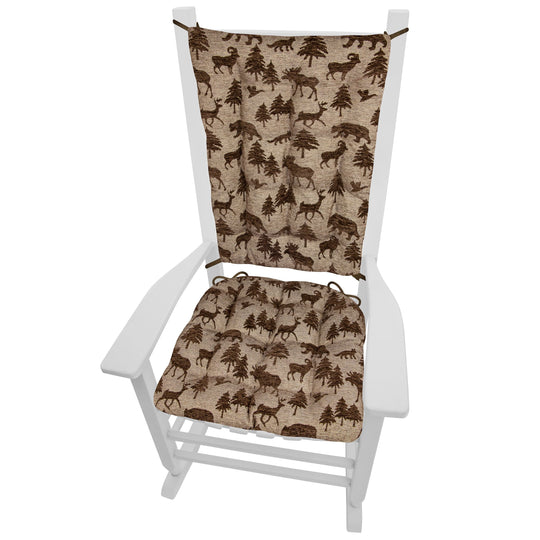 Woodlands Waypoint Brown Rocking Chair Cushions - Barnett Home Decor - Brown