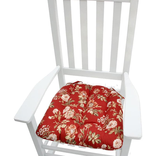 Farrell Red Wild Rose Rocking Chair Cushions - Latex Foam Fill - Made in USA - XXL