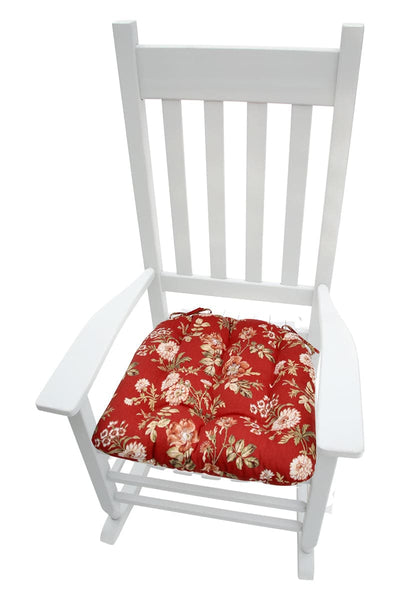 Farrell Red Wild Rose Rocking Chair Cushions - Latex Foam Fill - Made in USA