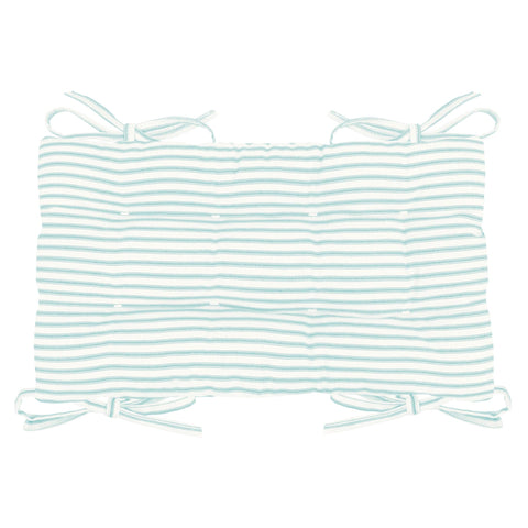 Ticking Stripe Aqua Saddle Stool Cushions - Barnett Home Decor - Gaucho Stool - Satori Cushions