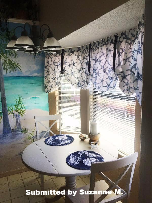 Sea Shore Starfish Navy Blue Tie Up Valance Or Tier Curtain Window Treatments