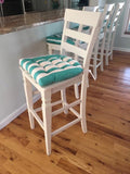 Sea Shore Stripe Aqua Indoor / Outdoor Dining Chair Pads